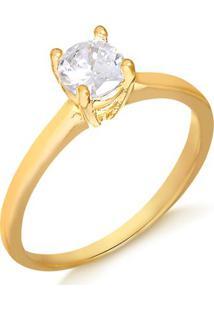 Anel Solitário Com Pedra Média Folheado Em Ouro 18K - 1140000004068 20