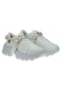 Tênis Sneaker Gigil Chunky Pedraria Branco