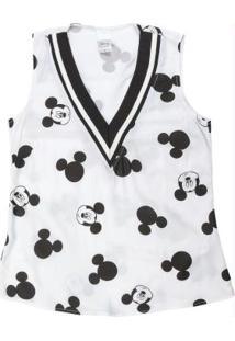 Blusa Estampada Com Decote V Branco