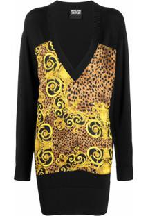 Versace Jeans Couture Suéter Oversized Com Decote Em V - Preto