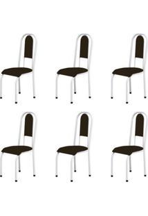 Kit 6 Cadeiras Anatômicas 0.122 Estofada Branco/Tabaco - Marcheli