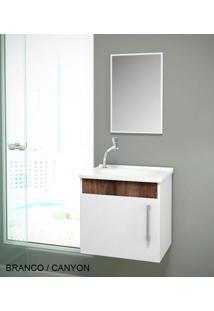 Gabinete Para Benheiro Kit Soft Susp. - Balcão + Espelheira + Marmorite - Branco Castaine