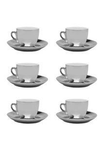 Jogo 6 Xícaras De Chá C/ Pires Wolff Porcelana 220Ml Prata E Branco