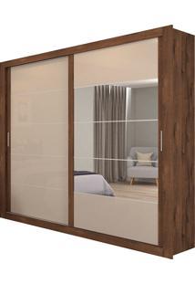 Guarda-Roupa Casal Com 2 Portas E Espelho Itapuã-Docelar - Imbuia / Off White