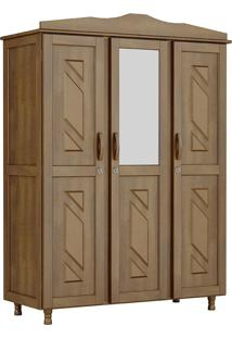 Guarda-Roupa Brasil Solteiro Imbuia Com Espelho 3 Portas 3 Gavetas E 3 Prateleiras Madeira Maciça De Pinus Cavazotto