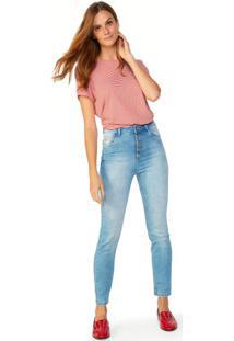 Calça Jeans Skinny Fecho Botões