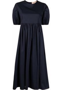 Blanca Vita Vestido Mangas Curtas Com Franzido - Azul