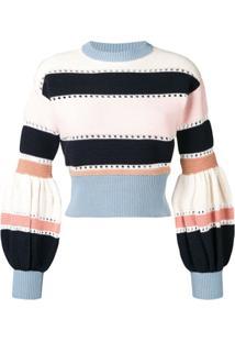 Self-Portrait Puff Sleeve Striped Sweater - Rosa