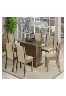 Conjunto Sala De Jantar Aline Madesa Mesa Tampo De Vidro Com 6 Cadeiras Rustic/Crema/Pérola