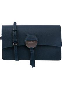 Bolsa Em Couro Azul Detalhe Laço