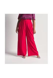 Calça Pantalona Em Crepe Com Botões Dourados Curve E Plus Size Vermelho