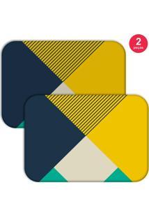 Jogo Americano Love Decor Abstrato Colorfull Amarelo/Azul