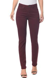 Calças Color Five Pockets High Rise Slim - Bordo Calças Color Five Pockets High Rise Slim - 34
