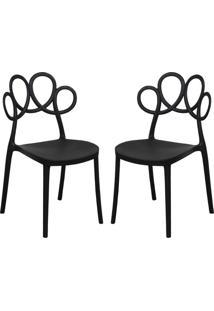 Kit 02 Cadeiras Decorativas Para Cozinha Laço Preto - Gran Belo - Tricae