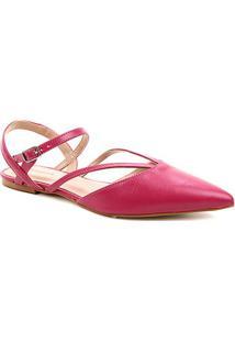Sapatilha Couro Shoestock Bico Fino Tiras Feminina - Feminino-Rosa
