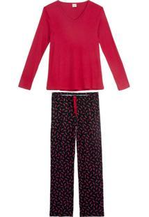 Pijama Feminino Lua Encantada Viscose Calça Pimenta