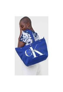 Bolsa Calvin Klein Monograma Azul