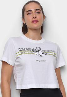 Camiseta Colcci Cropped Disney Mickey Mouse Feminina - Feminino-Marrom