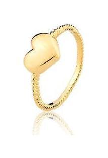 Anel Estelle Semijoias Coração Patrícia Banhado Ouro 18K Feminino - Feminino-Dourado