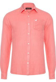 Camisa Masculina Linho - Rosa