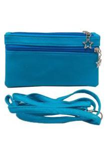Bolsinha Transversal Feminina Lisa Azul