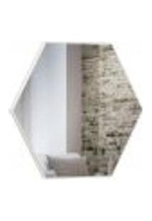 Espelho Decorativo Hexagonal Winter D03 69 Cm Moldura Off White Brilho - Lyam Decor