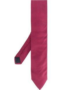 Boss Hugo Boss Gravata De Seda Com Bordado - Pink & Purple