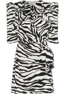 The Attico Vestido Com Estampa De Zebra - Preto