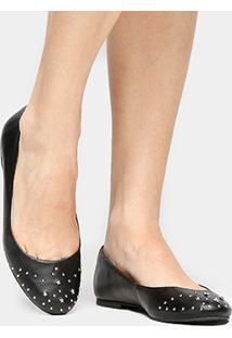 Sapatilha Couro Shoestock Estrelas Feminina - Feminino-Preto