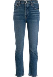 Re/Done Calça Jeans Slim Cintura Alta - Azul