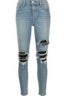 Amiri Calça Jeans Skinny Com Cintura Alta E Destroyed - Azul