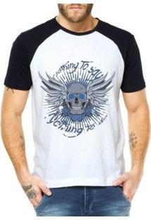 Camiseta Criativa Urbana Raglan Caveira Bad Armas - Masculino-Branco