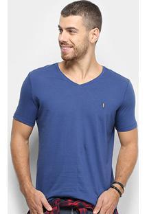 Camiseta Zoomp V-Neck 40/1 Masculina - Masculino-Azul
