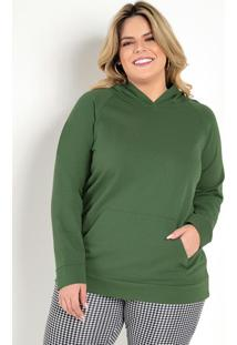 Casaco Verde Militar Com Capuz Plus Size