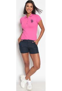 Polo Em Piqu㪠Com Bordado- Rosa & Azul Marinhous Polo