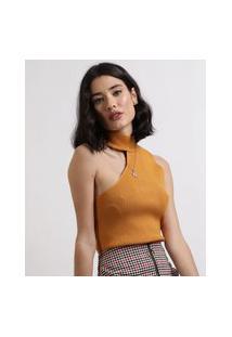 Blusa Feminina Em Tricô Canelado Um Ombro Só Assimétrico Gola Alta Amarela