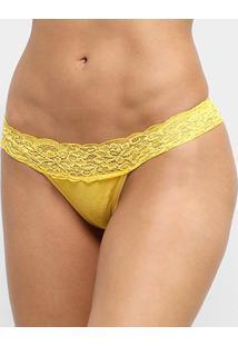 Calcinha Lupo Renda - Feminino-Amarelo