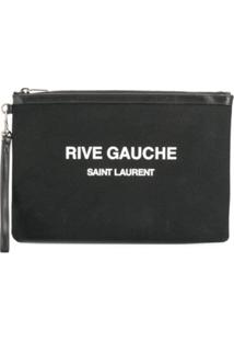 Saint Laurent Clutch Rive Gauche Com Logo - Preto