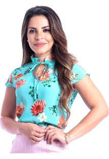 Blusa Miss Lady Crepe Floral Com Chatons
