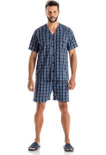 Pijama Antonio Curto Abotoado - O439 Marinho/M