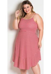 Vestido De Alças Listrado Vermelho Plus Size