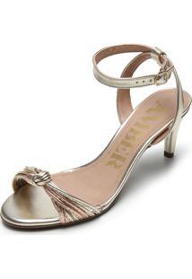 Sandália Amber Metalizada Nó Dourada