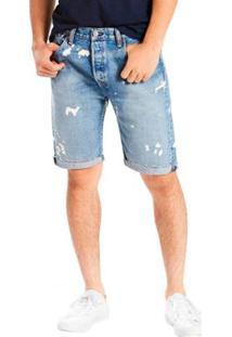 Bermuda Jeans Levis 501 Original Cut Off Lavagem Média Masculina - Masculino-Azul