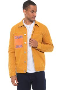 Jaqueta Sarja Calvin Klein Jeans Color Trucker Amarela
