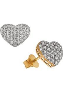 Brinco Coração Branco Em Ouro 18K - Unissex-Ouro