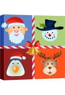 Quadro Impressão Digital Personagens Natal Colorido 30X30Cm Uniart