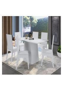 Conjunto Mesa Com Base E 6 Cadeiras Mdf Branco Lilies Móveis