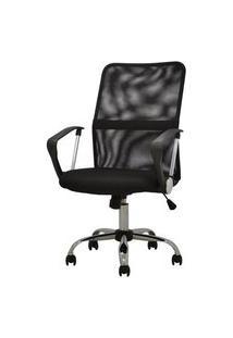 Cadeira Office Liberty Preta Base Cromada Rodizios - 38440 Preto