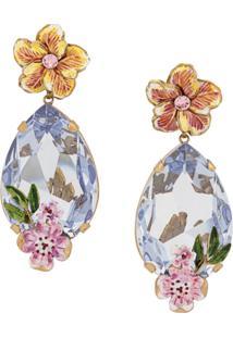 Dolce & Gabbana Par De Brincos Clip On Floral - Rosa