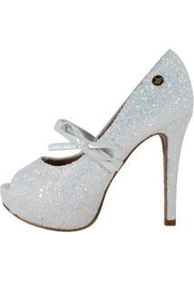 Peep Toe Week Shoes Meia Pata Lacinho Furtacor Branco